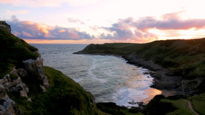 Fall bay at sunset